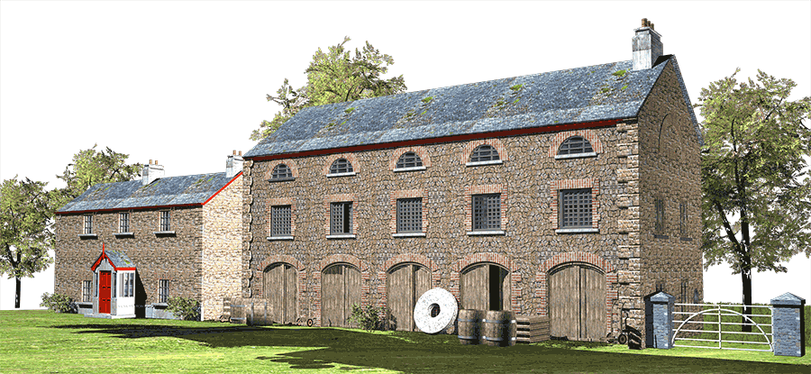 historical building illustrations, local history illustrations, old corn mill wicklow