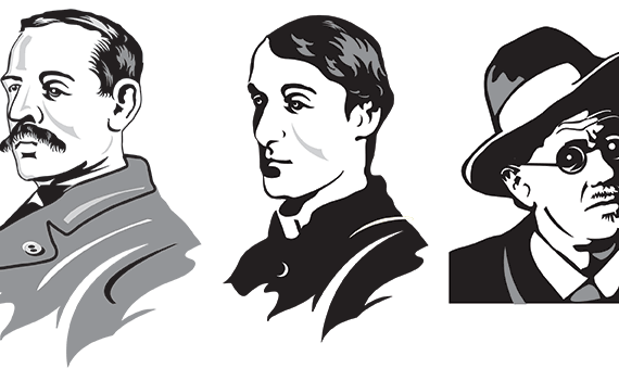 vector illustrations. irish historical characters